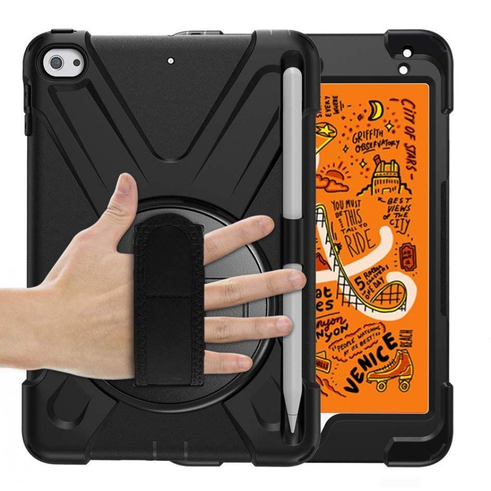 Breacn iPad Mini 5 Case,iPad Mini 4 Case, Heavy Duty Shockproof Protective Rugged Case with Pencil Holder, Hand Strap, Kickstand, Shoulder Strap for iPad Mini 5th/4th Generation 7.9 Inch for Kids - Black, B07R7TTLB9