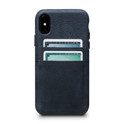 Sena Bence Snap-on Leather Wallet case for iPhone X/Xs - Denim Blue