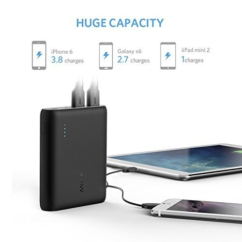 Anker PowerCore 10400mAh External Battery Pack for All Smartphones - Black, A1214H11