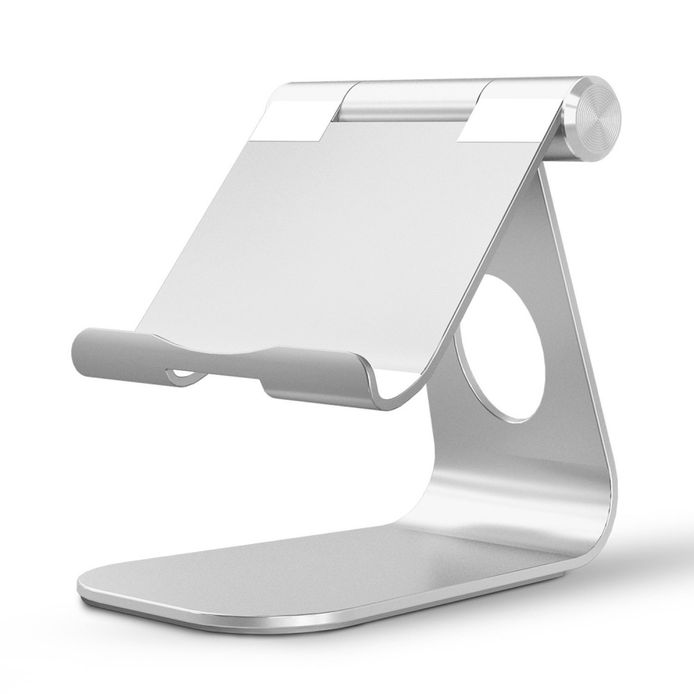OMOTON Multi-Angle Aluminum Stand, with Portable Adjustable Charging Dock (Up to 12.9 inch) - Silver, 5042913