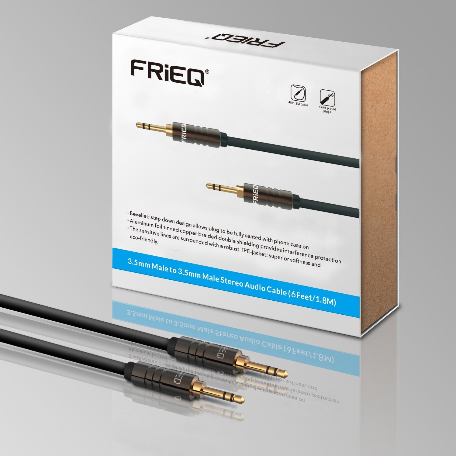 FRiEQ 3.5mm Male To Male Car and Home Stereo TPE Cable Audio Cable (6 Feet/1.8M) Fits Over Tablet & Smart Phone Cases For Apple iPad, iPhone, iPod, Samsung, Android, MP3 Players - Black (Plug will be Fully Seated with Phone Case On), B00WTZQWEC