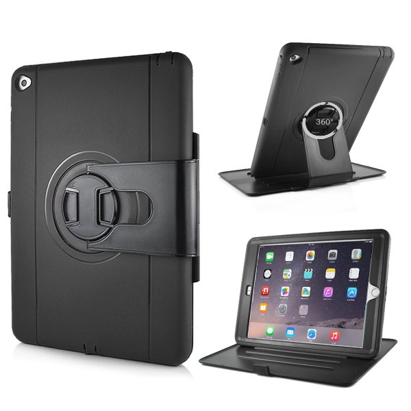Shockproof 360 Degree Rotation Stand Case for iPad Air 2 - Black, IPD6-RUG-67835
