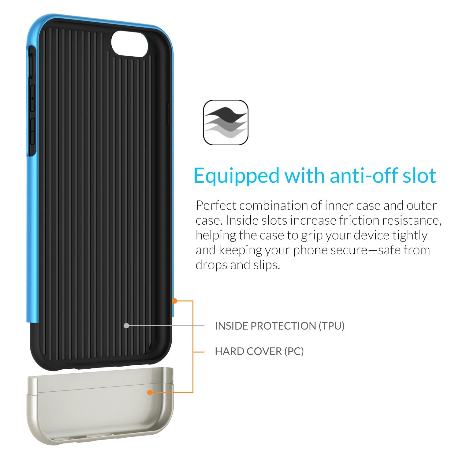 """iPhone 6 Case, FRiEQ Dual Layer Protection Slim Trendy Hard Case for Apple iPhone 6 (4.7"""") - Safe from Drops and Slips - Blue, FR-DLP-BU"""