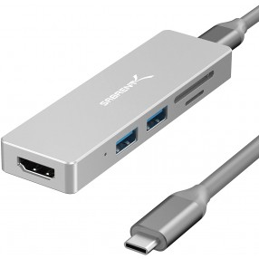 Sabrent 5-Port USB Type-C Multiport HUB - Silver