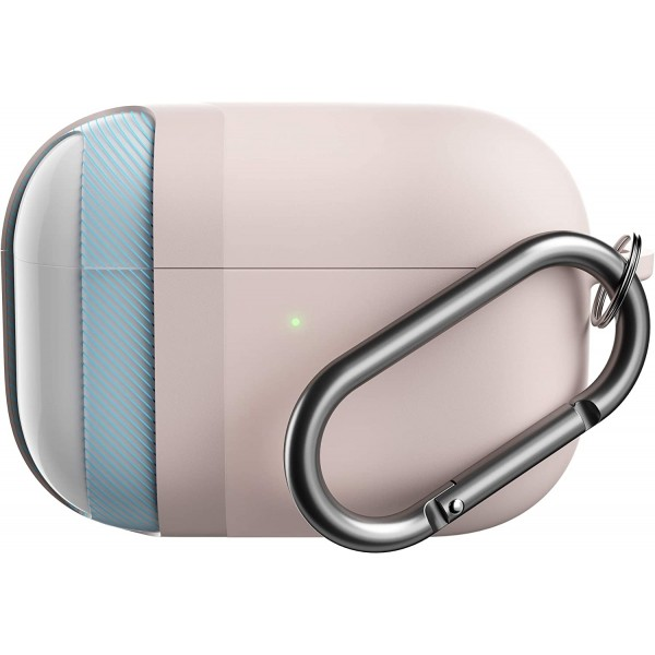 KeyBudz Hybrid Shell Keychain Case Series Compatible with AirPods Pro - Pastel Pink, KEY057