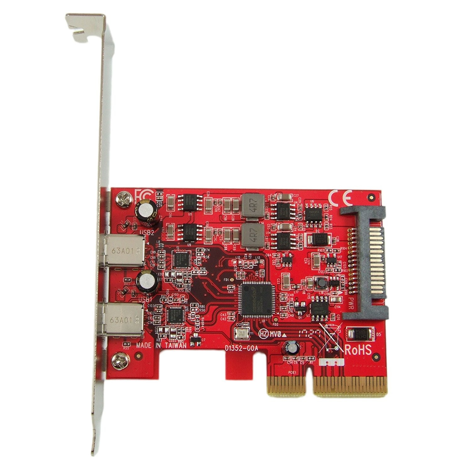Ableconn USB 3.1 Gen 2 (10 Gbps) 2-Port Type-C PCI Express (PCIe) x4 Host Adapter Card For Mac Pro, PU31-2C-2