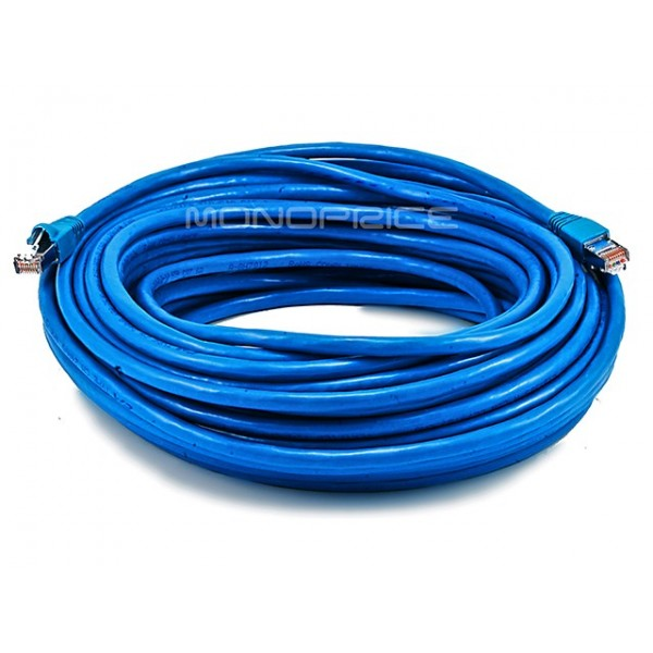 23m 24AWG Cat6A 500MHz STP Ethernet Bare Copper Network Cable - Blue, ETH-5906