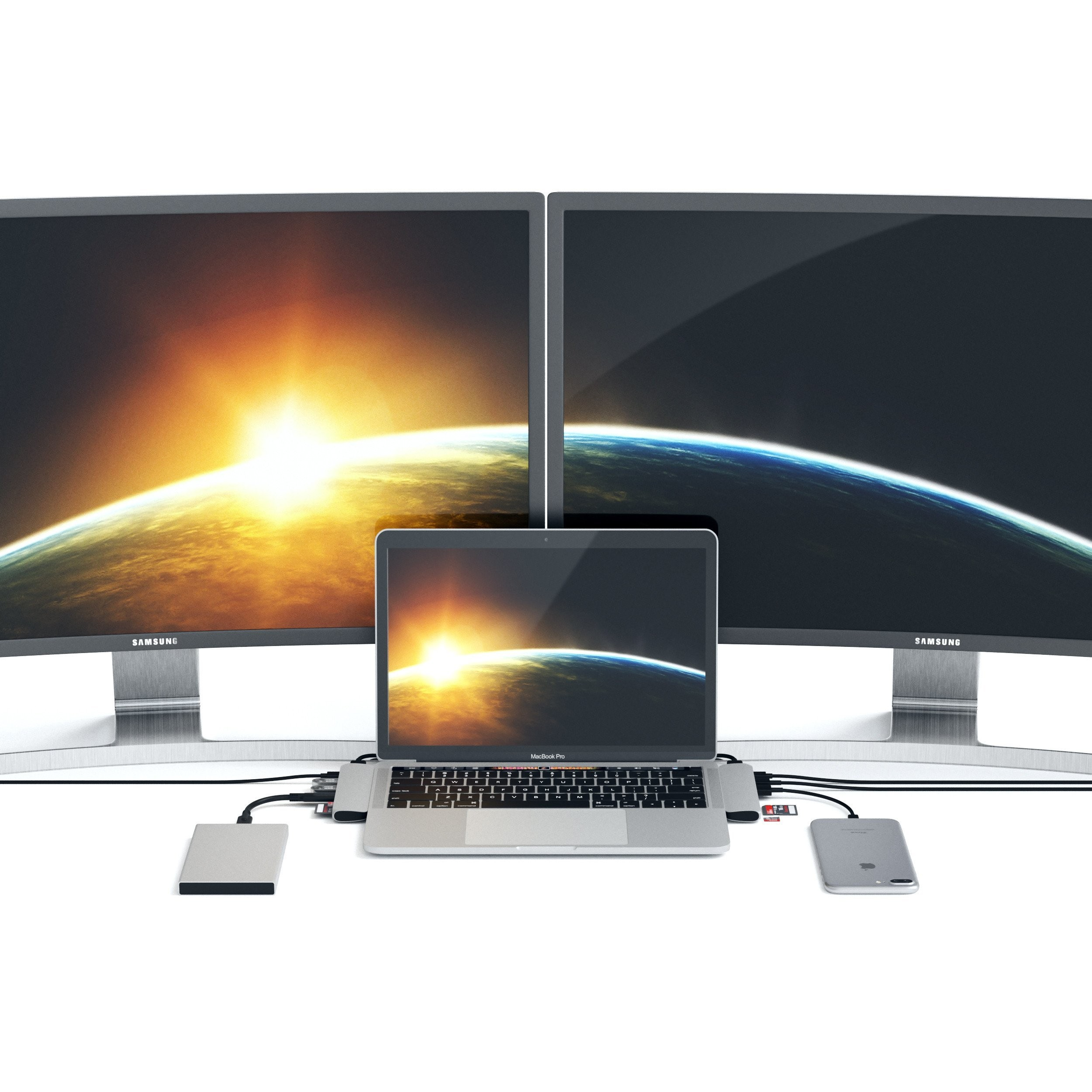 Satechi Type-C Pro Hub with 4K HDMI & Thunderbolt 3 - Silver, ST-CMBPS