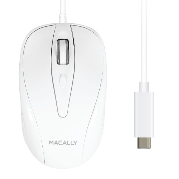Macally Wired USB-C Mouse for Apple MacBook Pro 2017 / 2016, MacBook 12-Inch, Chromebook, Windows PC, Computer or Laptops with Type-C Port - White, UCTURBO