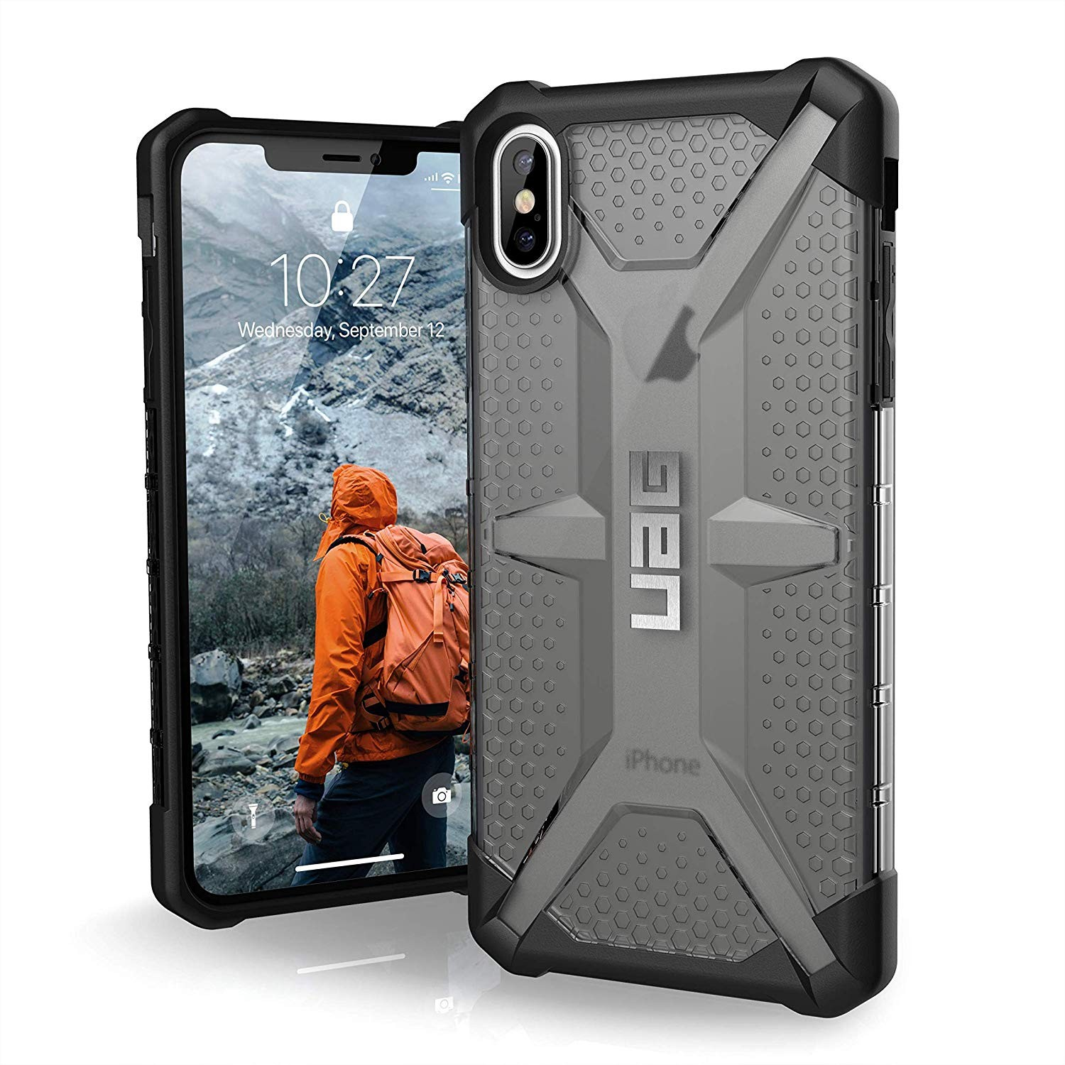 Urban Armor Gear iPhone Xs Max Plasma Feather-Light Rugged Military Drop Tested iPhone Case - Ash, 111103113131