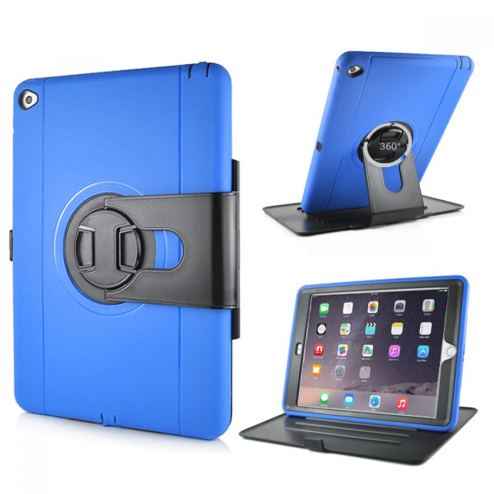 Shockproof 360 Degree Rotation Stand Case for iPad Air 2 - Dark Blue, IPD6-RUG-67833