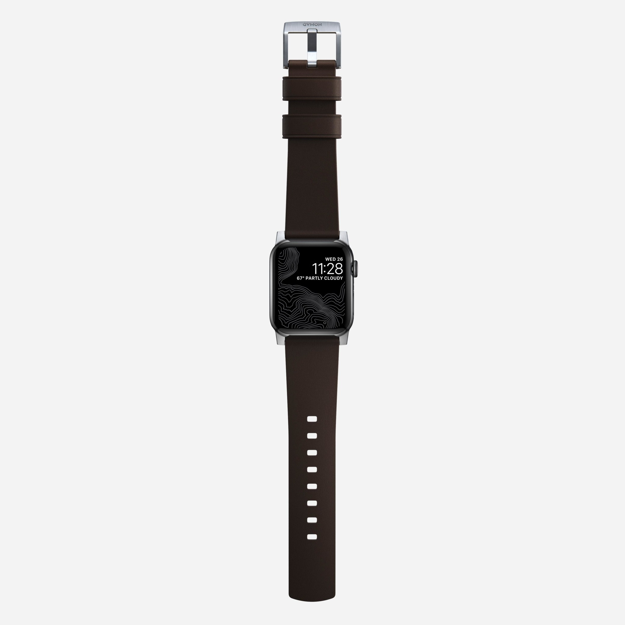 Nomad - Active Strap Pro - Apple Watch 44/42mm - Brown - Silver Hardware, NM1A4MSNW0