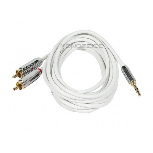 1.8m Designed for Mobile 3.5mm Stereo Male to RCA Stereo Male (Gold Plated) - White