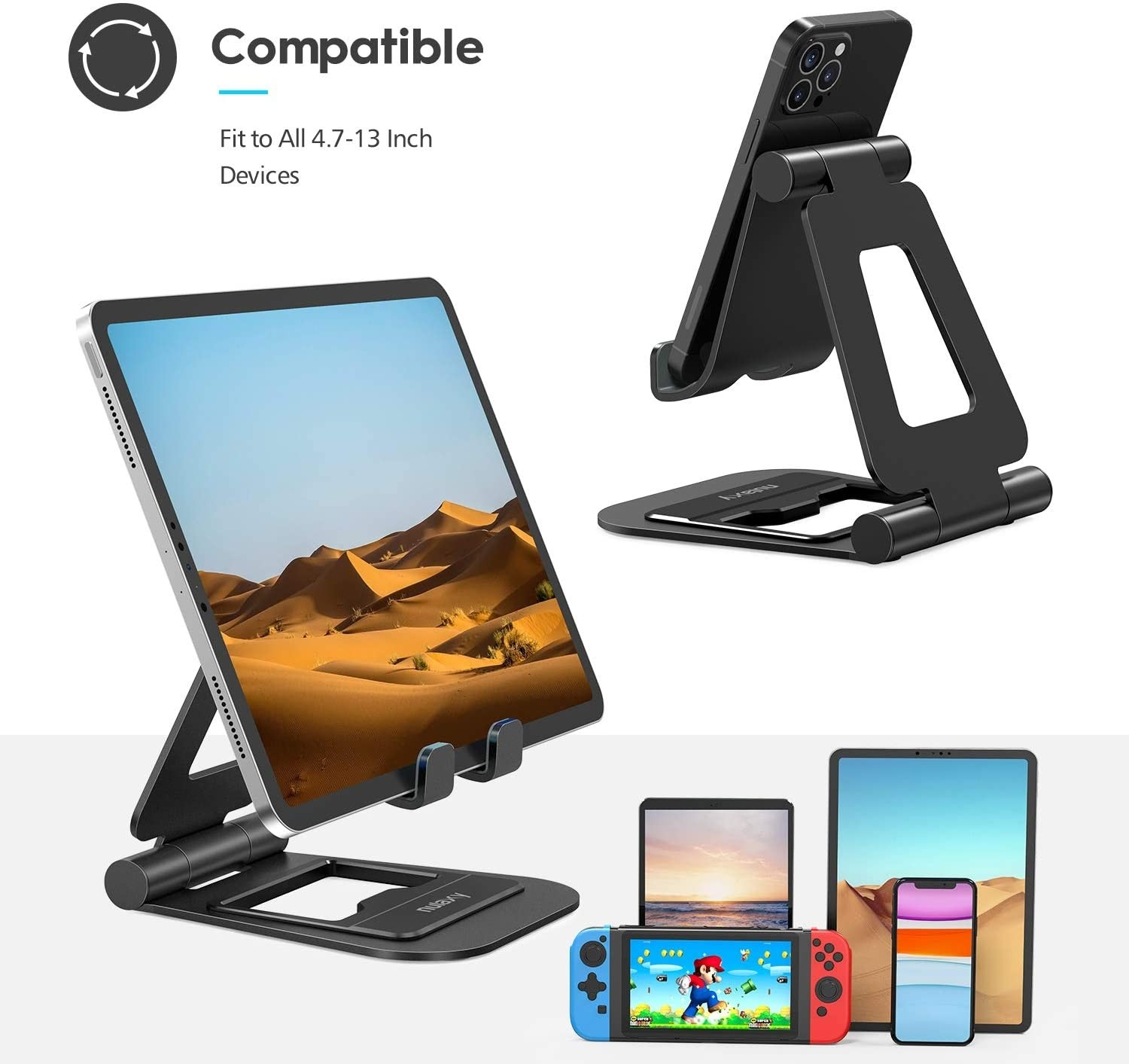 Nulaxy A5 Tablet Stand, Fully Foldable Tablet Holder Cell Phone Stand Compatible with All Tablets and Mobile Phones - Heavy Duty Black, B08731BKPL