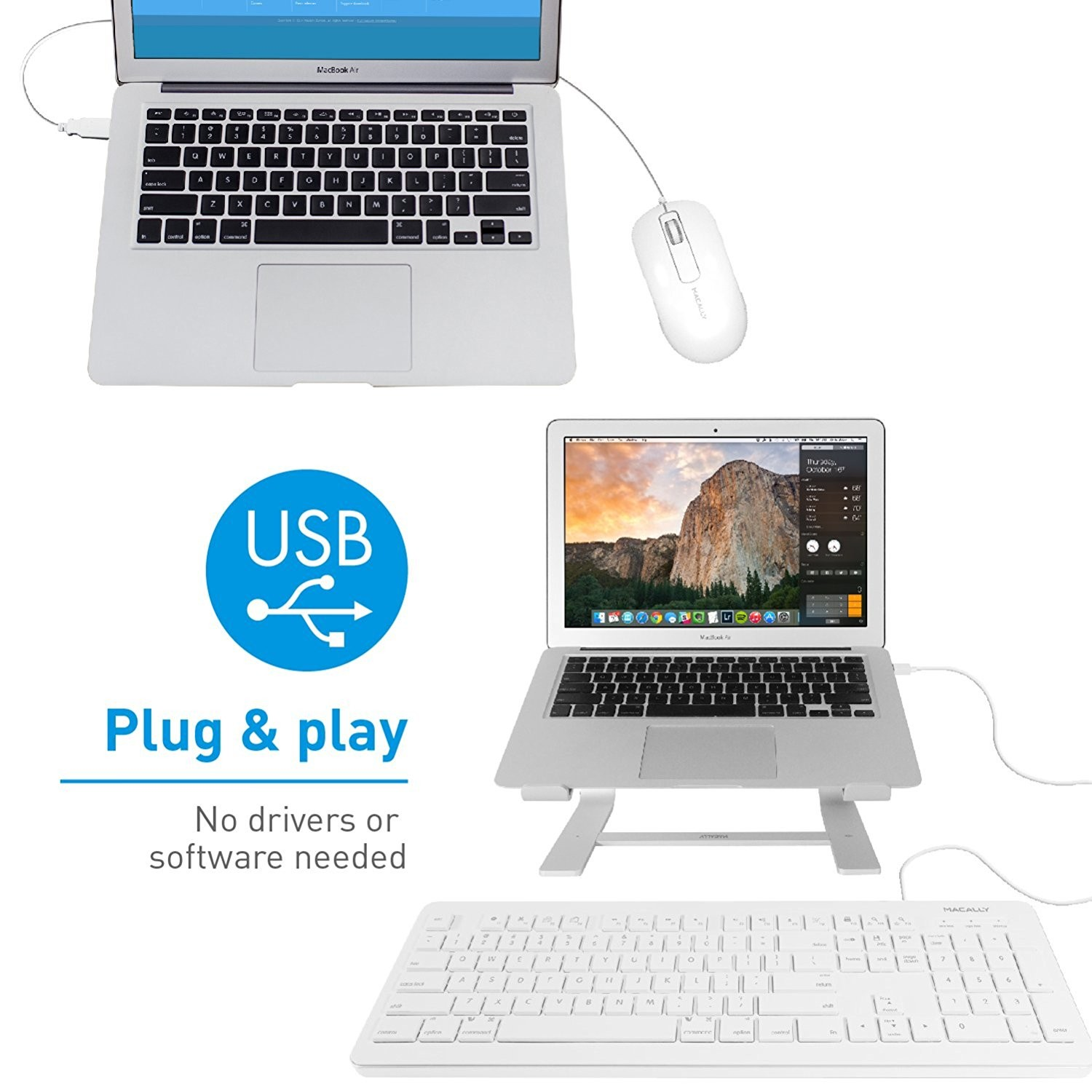 Macally 104 Key USB Wired Keyboard with 2 USB Port Hub and Mouse Combo for Mac or PC - White, MKEYXU2COMBO