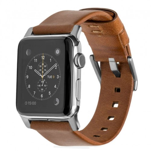 Nomad Horween Leather Strap for Apple Watch 42mm - Rustic Brown (Silver hardware)