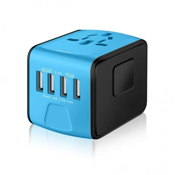 SAUNORCH Universal International Travel Power Adapter W/High Speed 2.4A USB, 3.0A Type-C Wall Charger - Blue, B078M32R41