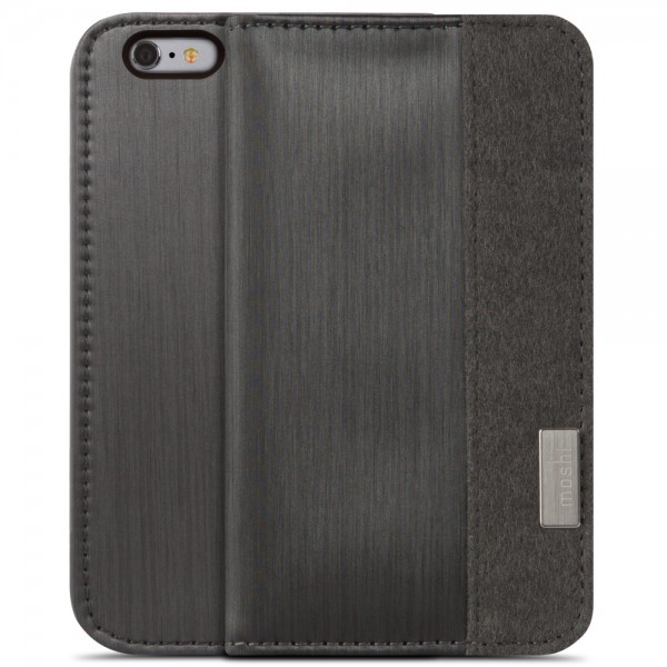 Moshi Overture Wallet Case for iPhone 6 Plus/6S Plus - Steel Black, IPH6+WALL-BK