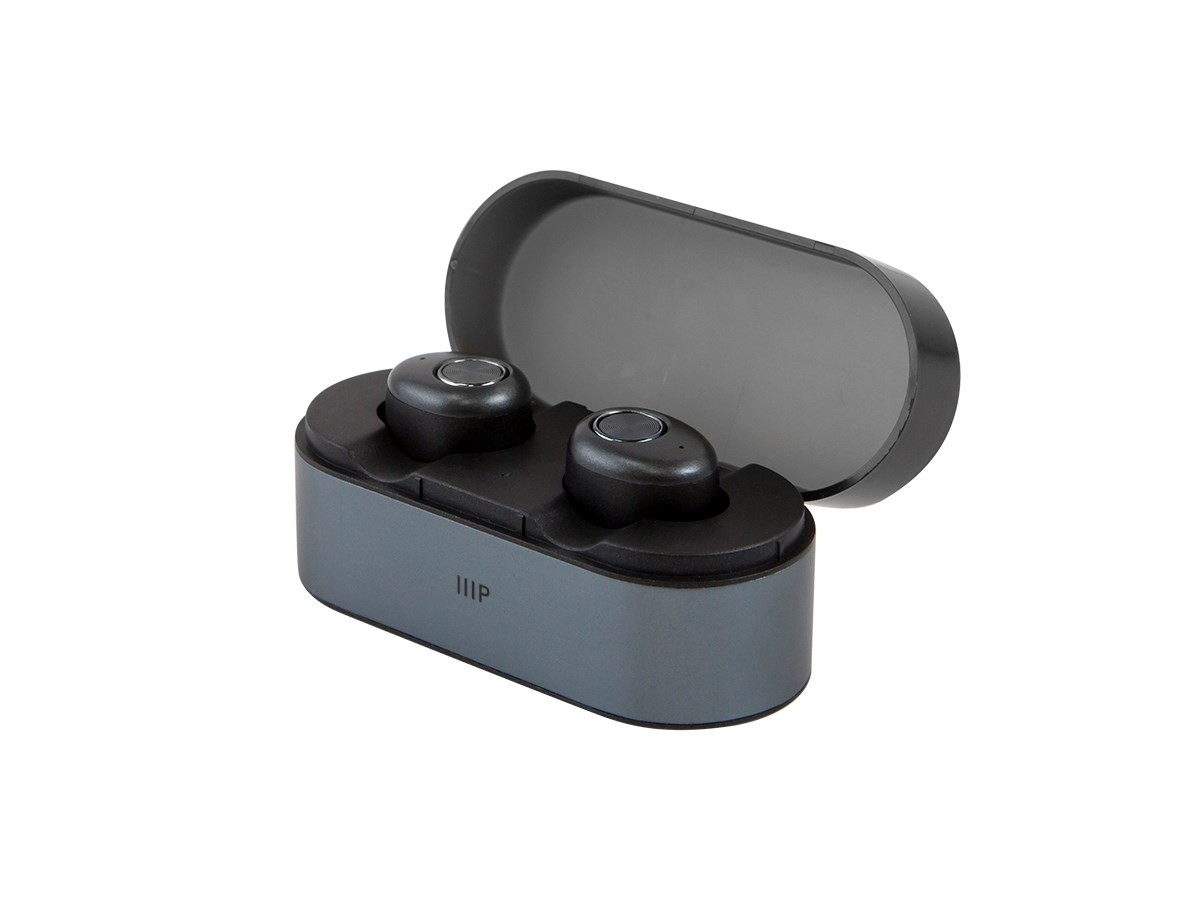 Monoprice True Wireless Earphones IPX4 Sweatproof, Bluetooth 4.2, Mic and Portable Charging Case with Auto On/Off, 30878