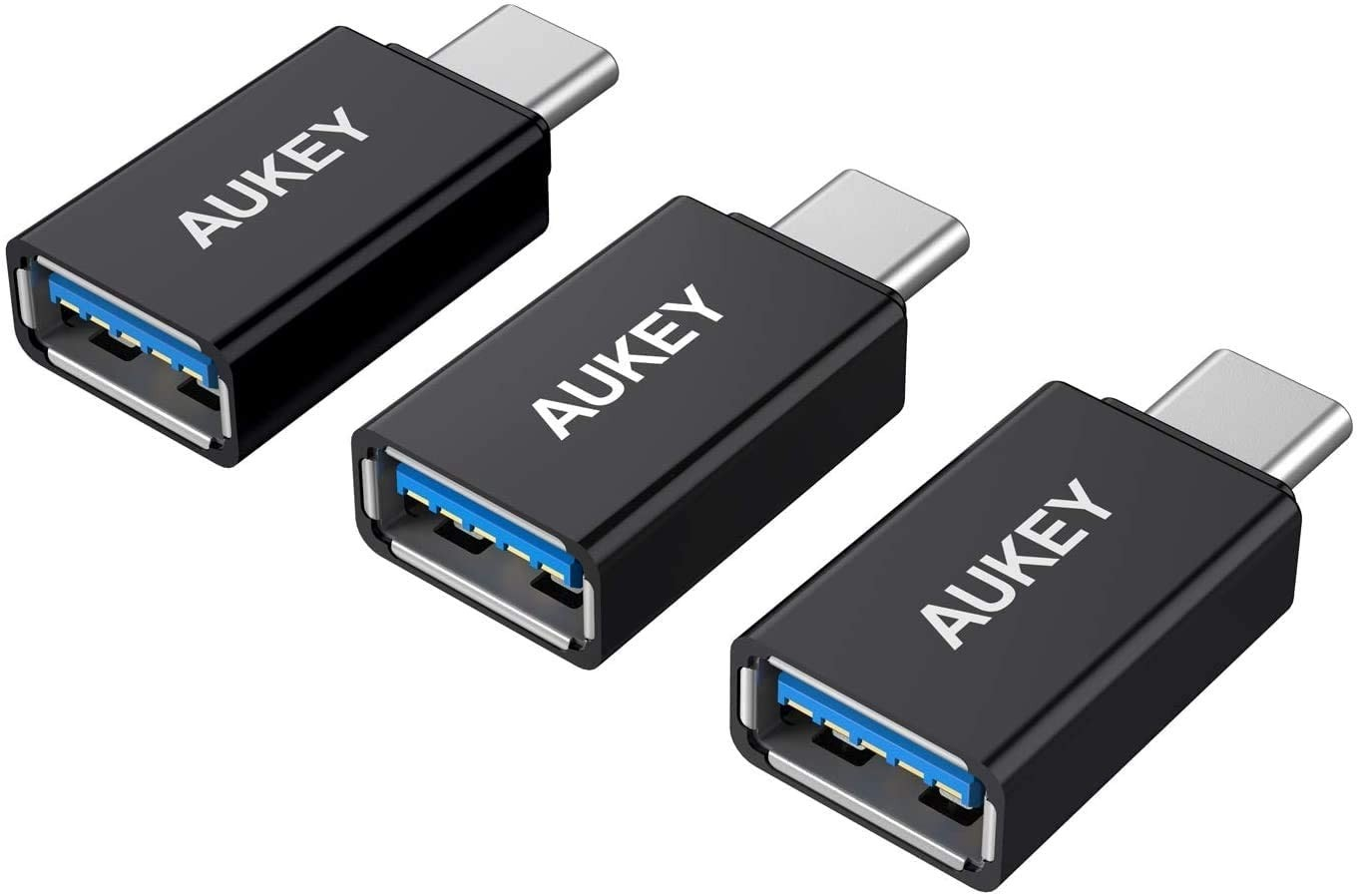 Aukey USB 3.0 A to C Adapter, 3 Pack - Black, B01AUKU1OO