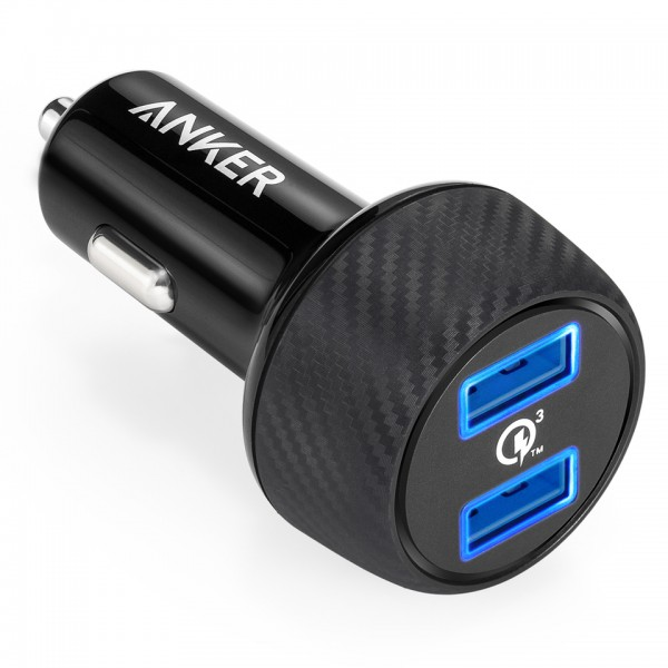 Anker Car PowerDrive Speed with 2x Quick Charge 3.0 3A, PowerIQ 2.4A ports, MultiProtect - Black, A2228H11