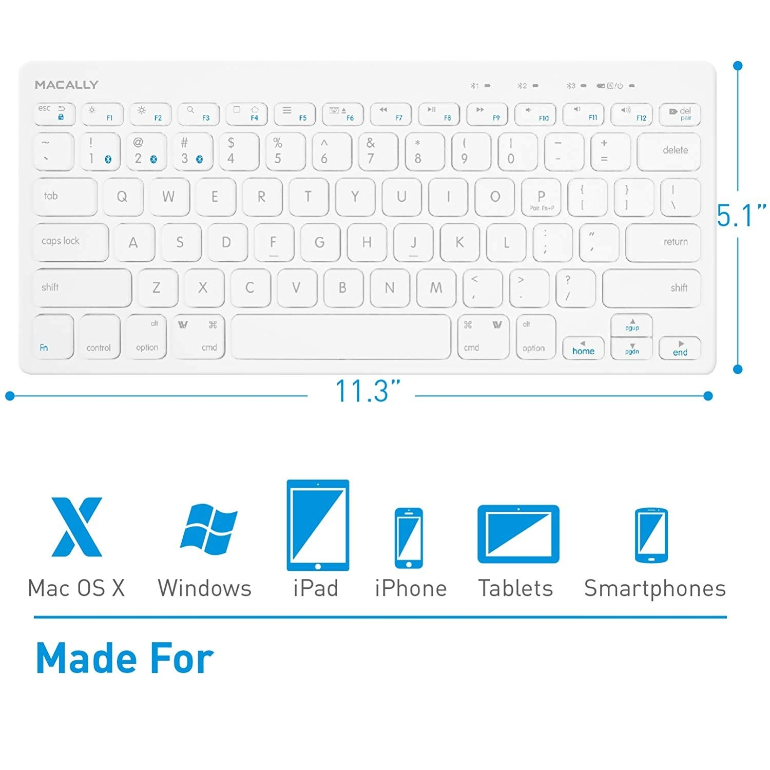 Macally Compact Wireless Bluetooth Keyboard - Features a Built-in Stand & Multi-Device Sync - Compatible with Apple Mac, iMac, MacBook Pro/Air, iPhone, iPad - White, BTMINIKEY