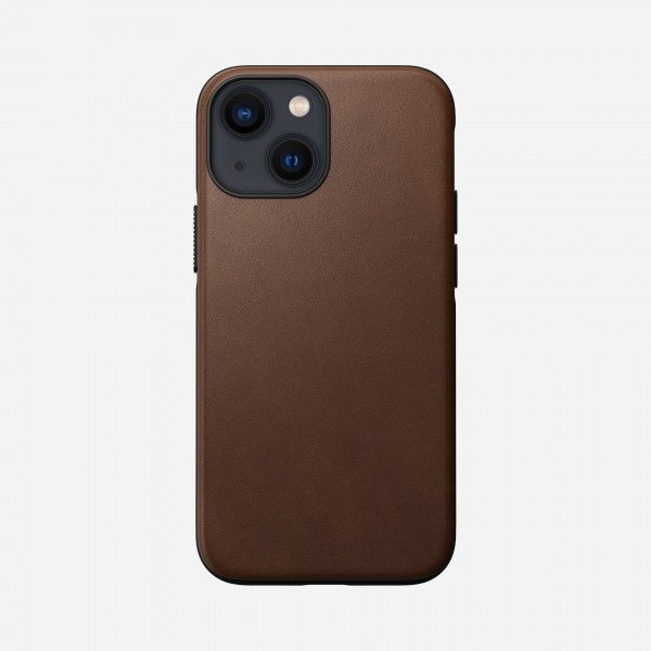 Nomad Modern Leather Case For iPhone 13 Mini - Rustic Brown, NM01057185