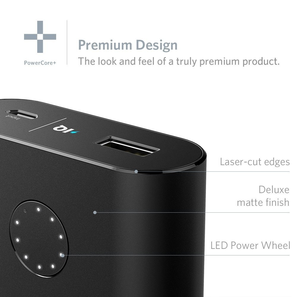 Anker PowerCore+ 10050: The World's Smallest 10000mAh Portable Charger with Premium Aluminum Shell and Qualcomm Certified Quick Charge 2.0 Technology - Black, A1311H11