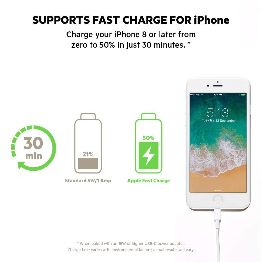 Belkin Boost Charge USB-C Cable with Lightning Connector (MFi-Certified) - White, F8J239bt04-WHT
