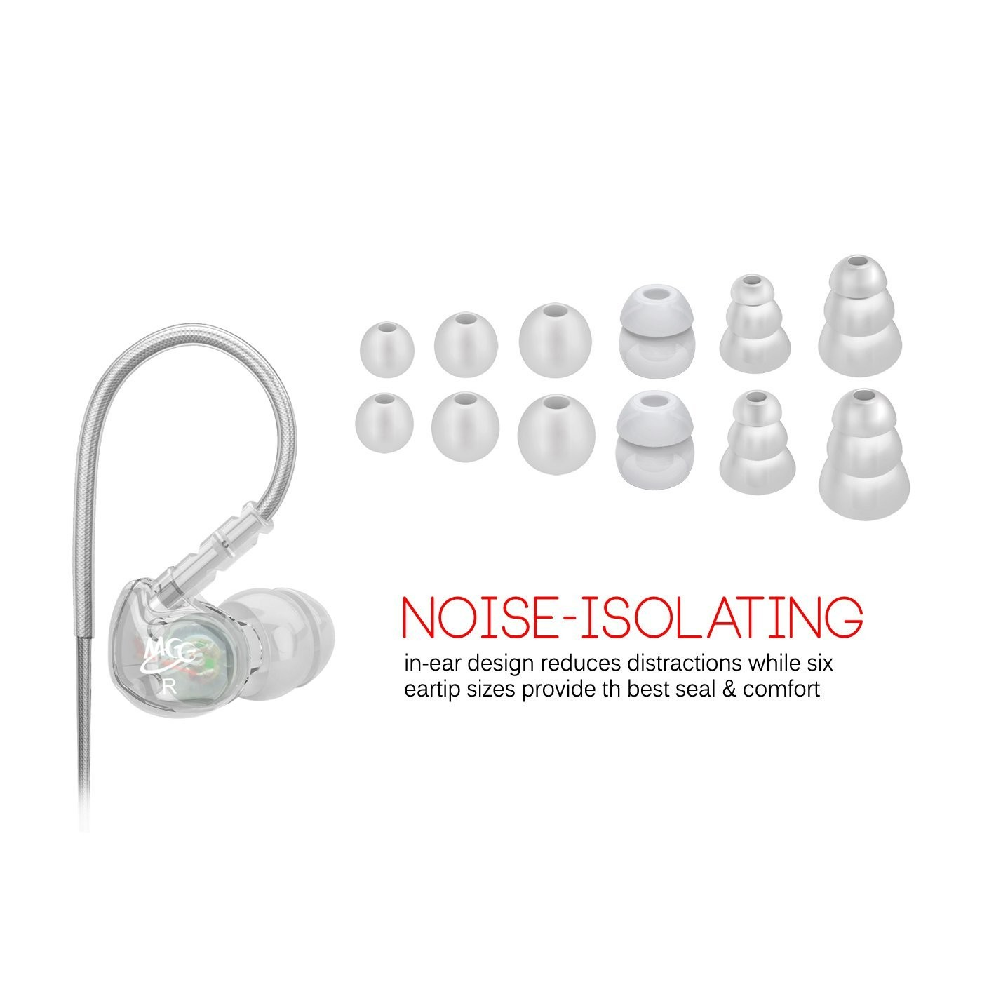 MEE Audio Sport-Fi M6 Noise Isolating In-Ear Headphones with Memory Wire (Clear), B0038W0K2U