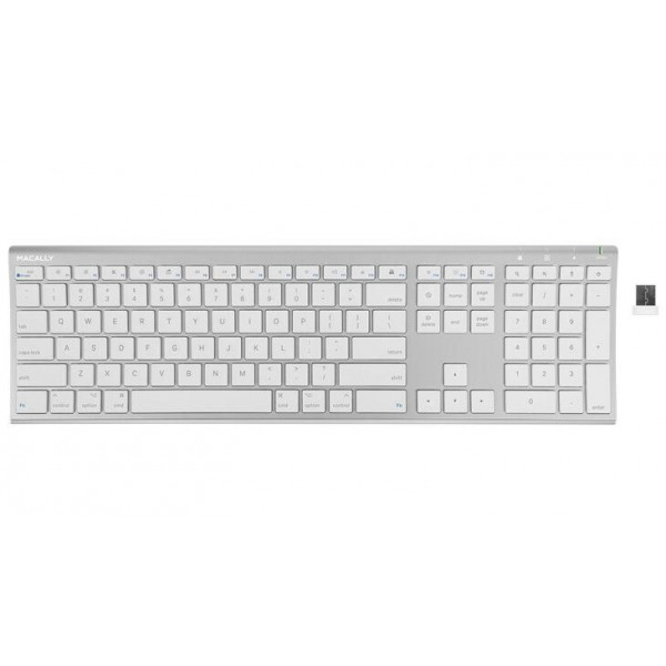 Macally Ultra Slim RF Wireless Aluminum Keyboard for Mac - Silver, RFACEKEYA
