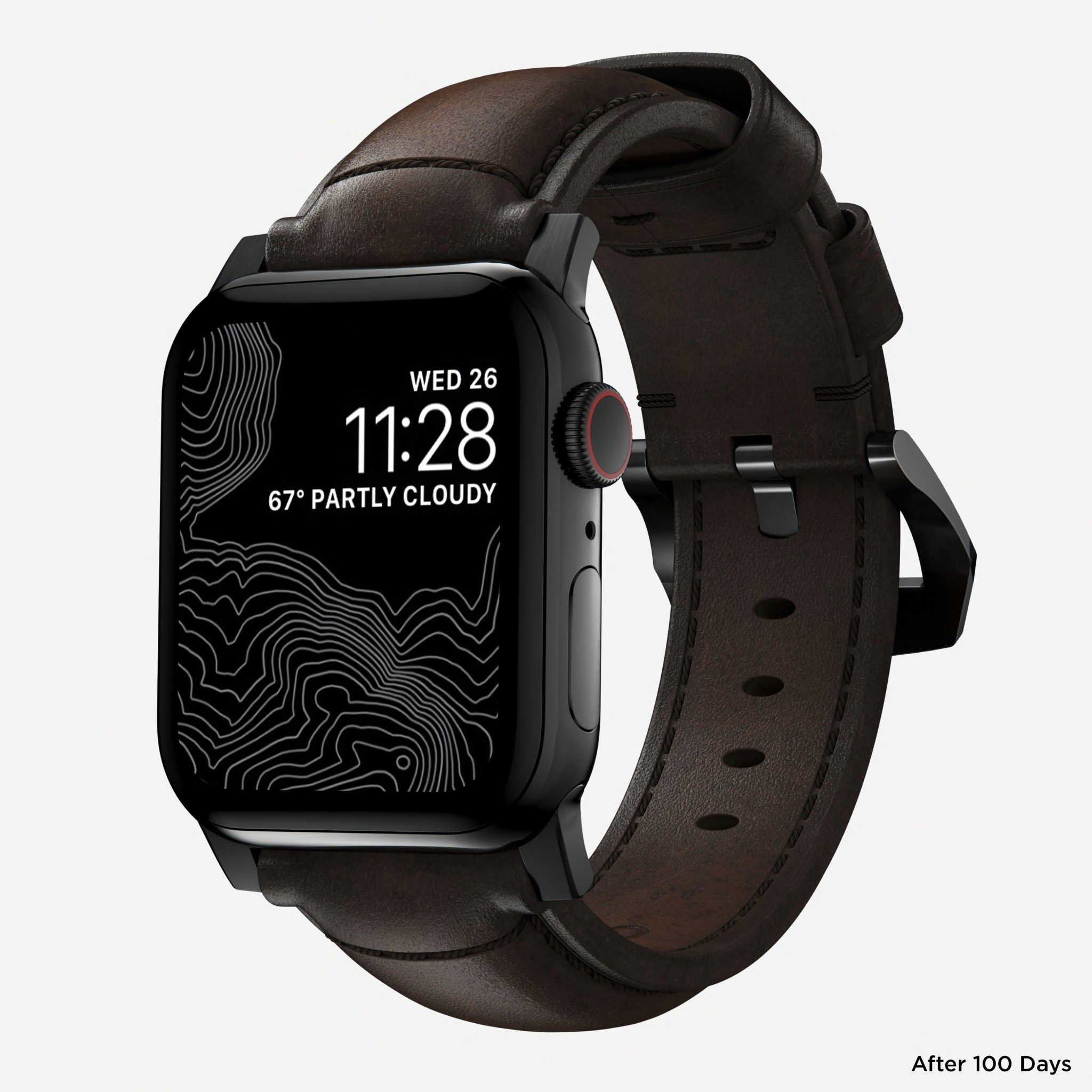 Nomad - Traditional Strap for Apple Watch 42/44mm - Rustic Brown - Black Hardware, NM1A4RBT00