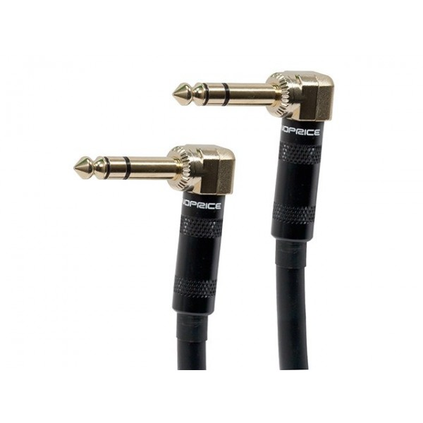 7.6m Premier Series 1/4inch (TRS or Stereo Phono) Right Angle Male to Right Angle Male 16AWG Cable (Gold Plated), TRS-9444