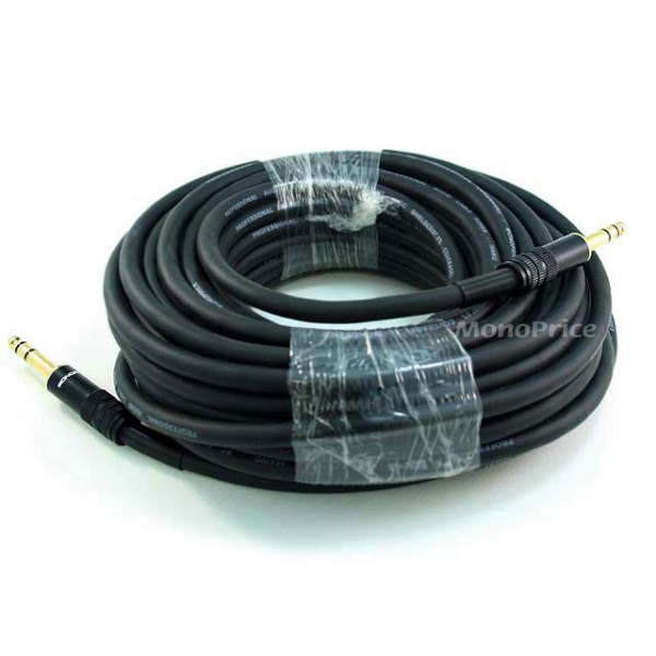 15m Premier Series 1/4inch (TRS or Stereo Phono) Male to Male 16AWG Cable (Gold Plated), TRS-4798