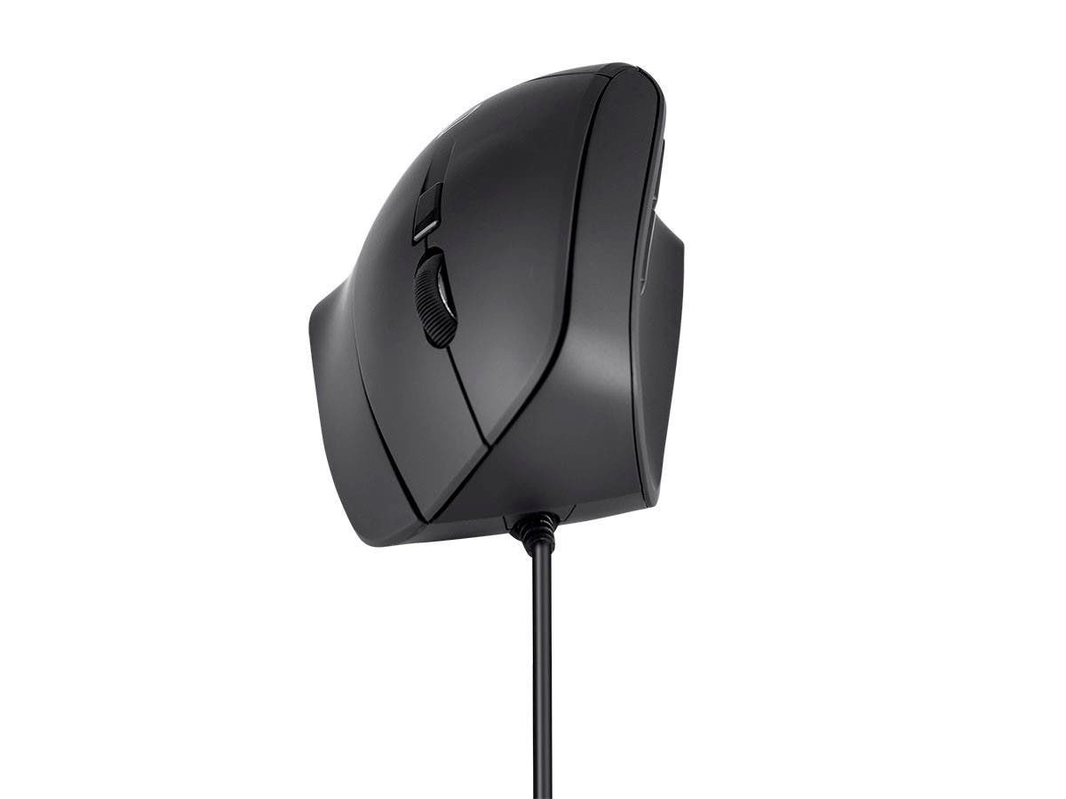 Workstream by Monoprice Wired Ergonomic USB Optical Mouse, Soft Touch Black, 38962