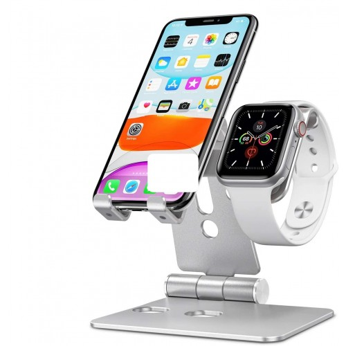 OMOTON 2 in 1 Aluminum Foldable Charging Dock Stand for Apple Watch 5/4/3/2/1 and iPhone SE/11/11 Pro/11 Pro Max/XR/Xs/Xs Max - Silver