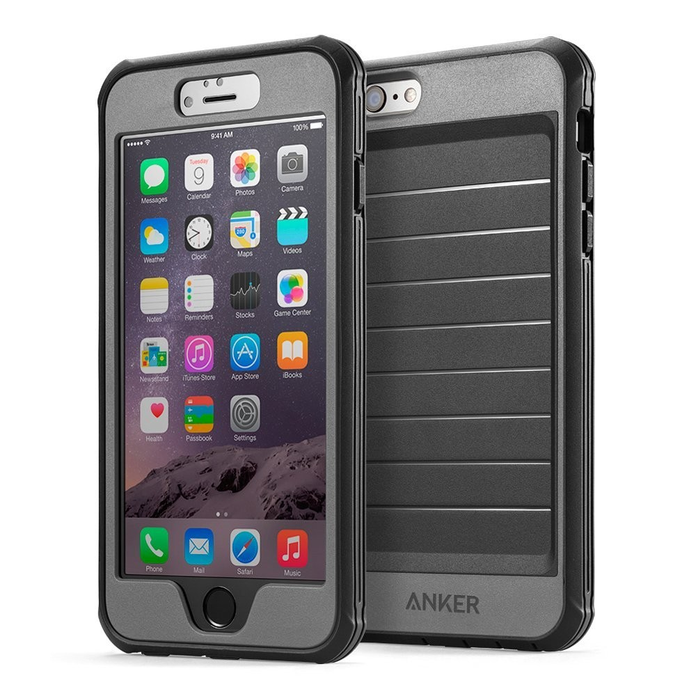 iPhone 6 Plus Case, Anker Ultra Protective Case With Built-in Clear Screen Protector for iPhone 6 Plus and 6S Plus (5.5 inch) Drop-Tested, Dust Proof Design (Black/Grey), B00PK30MVE