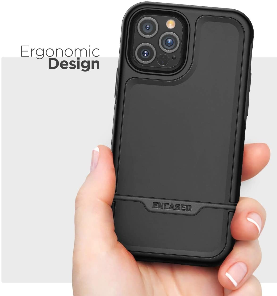 Encased Protective Rebel Series Heavy Duty Case for iPhone 12 Pro Max - Black, RB129BK