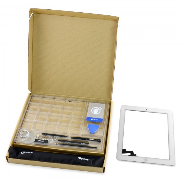iPad 2 Front Glass/Digitizer Touch Panel Full Assembly, New Fix Kit - White, IF112-002-4