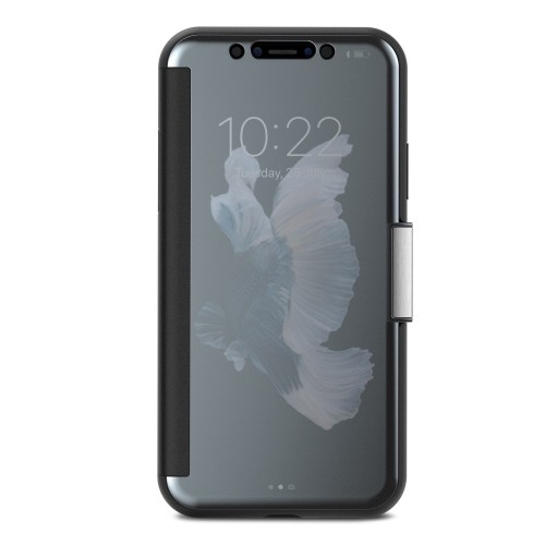 Moshi StealthCover for iPhone X/Xs, Slim Folio Case with Magnetic Clasp - Gunmetal Gray