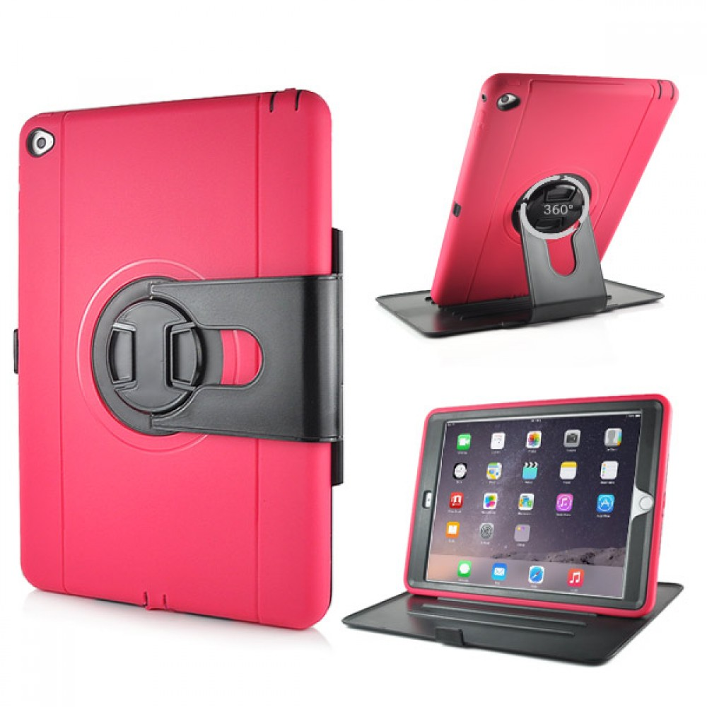 Shockproof 360 Degree Rotation Stand Case for iPad Air 2 - Magenta, IPD6-RUG-67832
