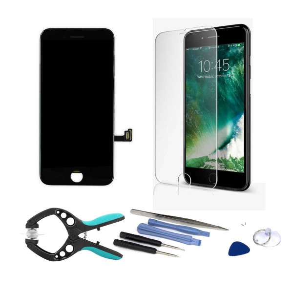 iPhone 7 LCD Screen and Digitizer Full Assembly - Bundle with Tools and Tempered Screen Protector  -  Black, I7A-001B-NBD