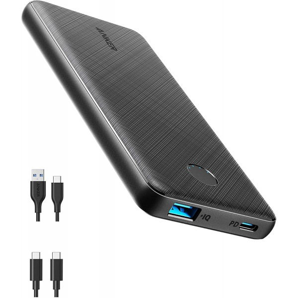 Anker PowerCore Slim 10000mAh Power Bank, USB-C Portable Charger with 20W Power Delivery - Black, A1244