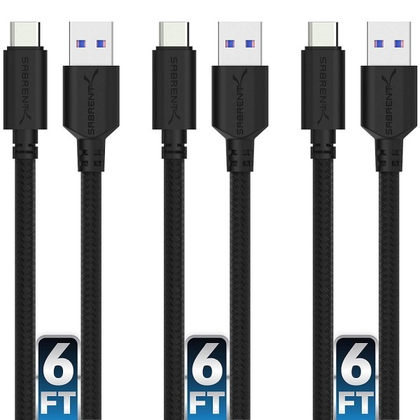 Sabrent 22AWG Premium 1.8 metre (6ft) USB-C to USB A 3.0 Sync & Charge Cables, 3-Pack - Black, CB-C3X6