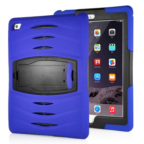 Shockproof Hybrid Stand Case for iPad Air 2 - Dark Blue, IPD6-RUG-67836