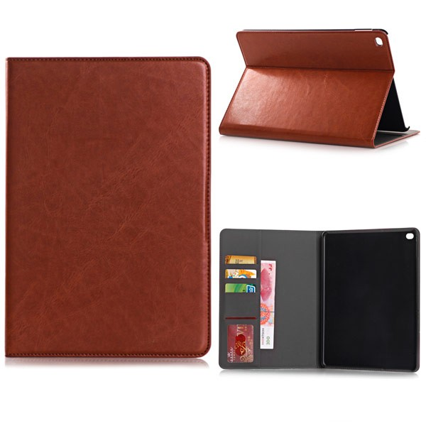 PU Leather Folio Case With Card Slots for iPad Air 2 - Brown, *IPD6-CARD-67191