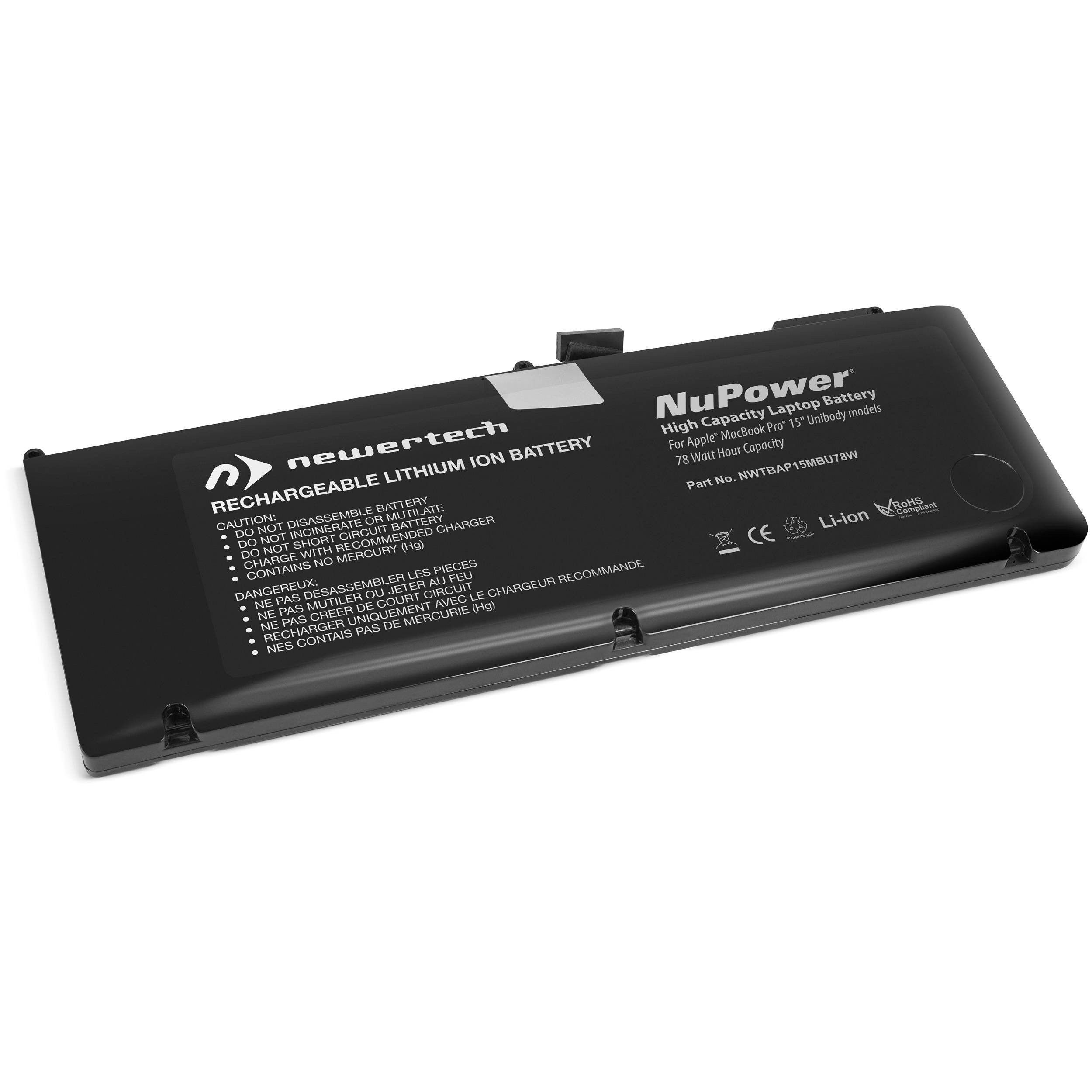 NewerTech NuPower 78 Watt-Hour Battery for MacBook Pro 15-inch Unibody Early and Late 2011, Mid-2012 Models, NWTBAP15MBU78W