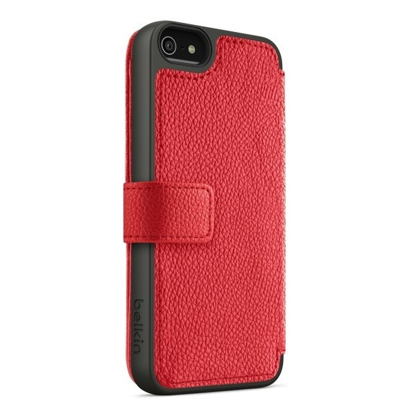 Belkin Wallet Folio for iPhone 5 : Red + Black, DIS-BLK-WALLET-IPH5-RED