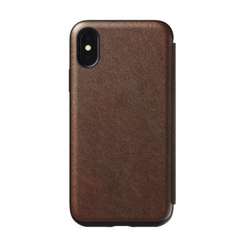 Nomad Horween Leather Rugged Tri-Folio for iPhone XS / X- Rustic Brown