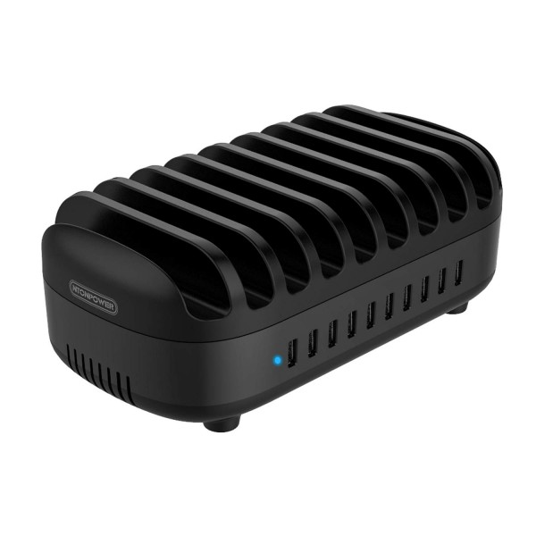 Ntonpower 10 Ports Charging Station for Multiple Devices, USB Fast Charging Dock - Black, NUK-10P